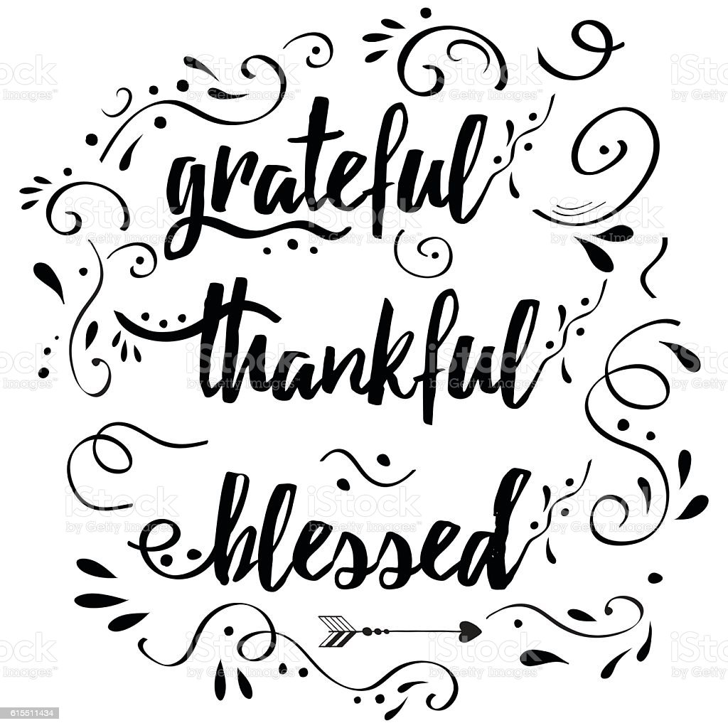 Thankful grateful blessed vector hand drawn card decorated floral ornament vector art illustration