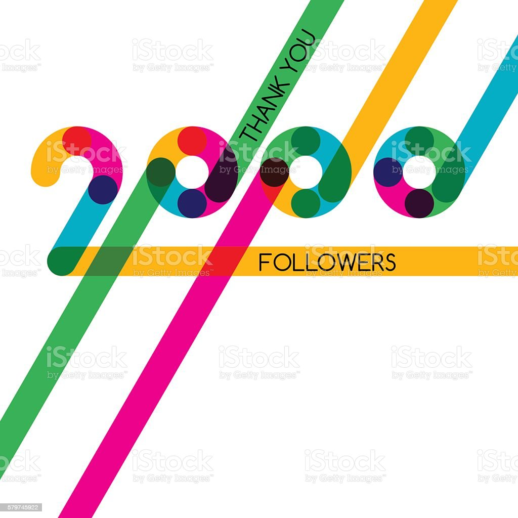 Thanks 2000 follower, vector banner, poster for blogs, social networks. vector art illustration