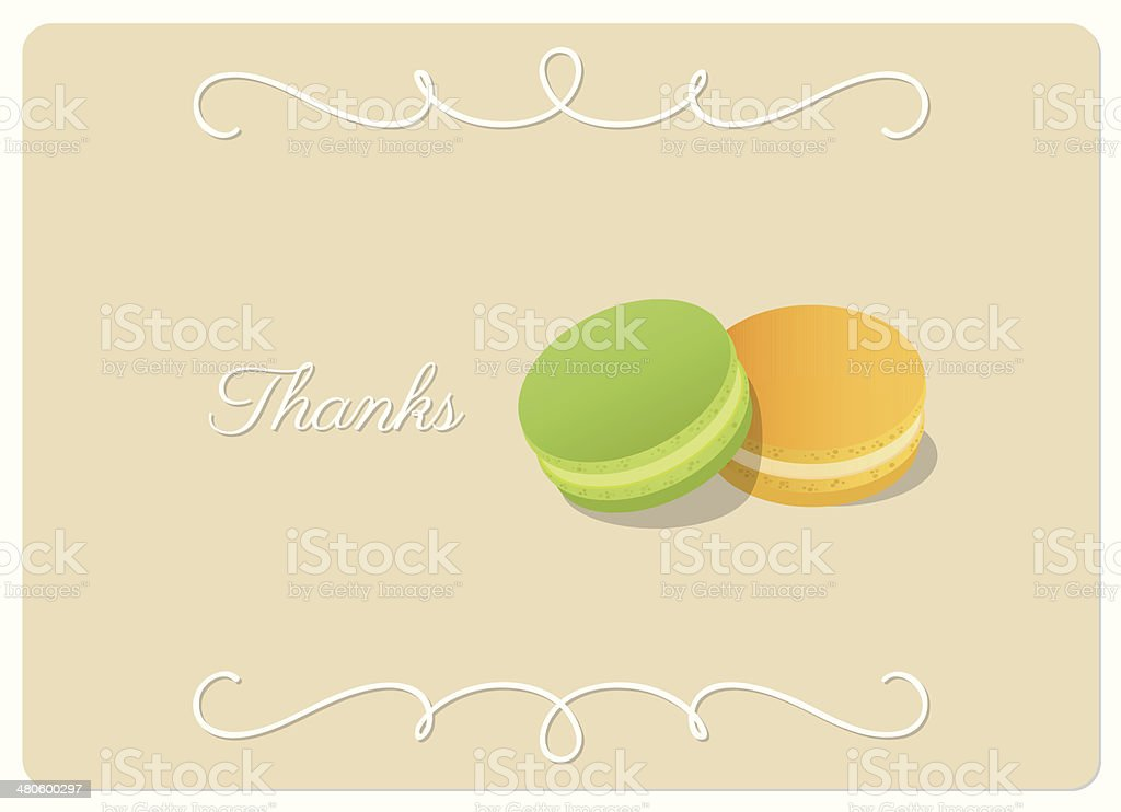 thanks, greeting card with two pastel color macarons isolated royalty-free stock vector art