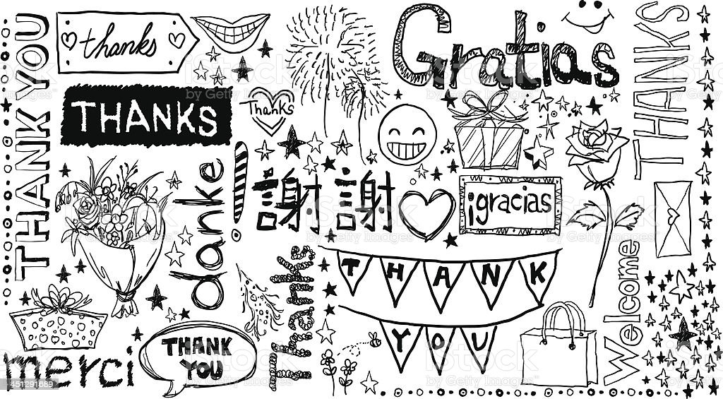 Thanks you words in different languages vector art illustration