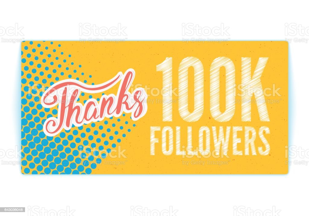 Thanks_followers_100K vector art illustration
