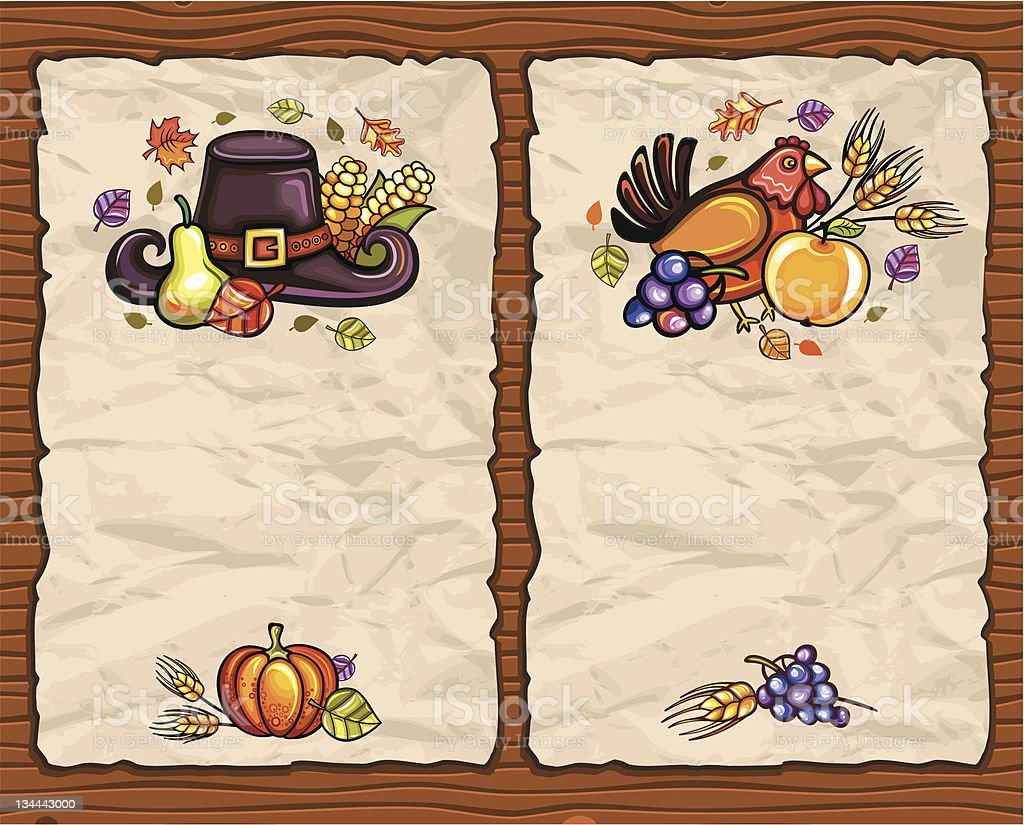 Thanksgiving antique paper backgrounds royalty-free stock vector art