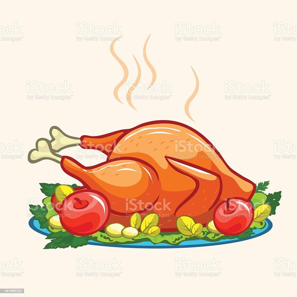 Thanksgiving appetizing fried turkey meal vector art illustration