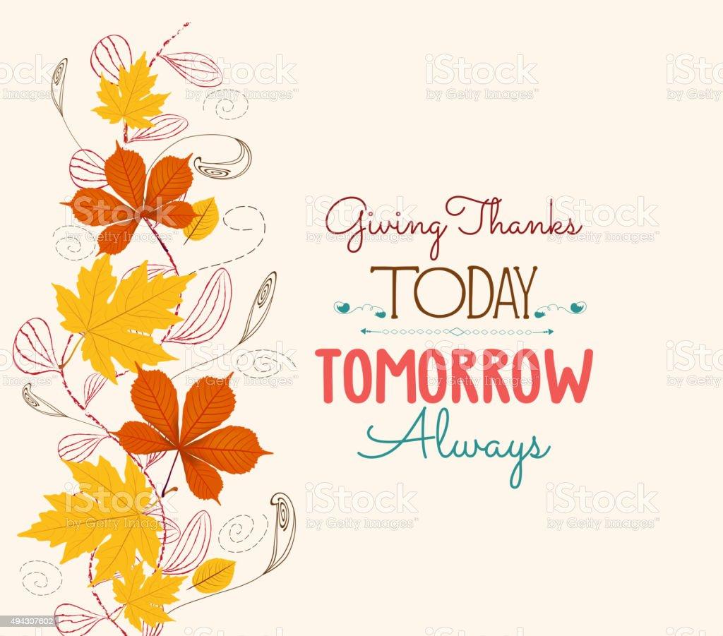 Thanksgiving. Autumn leaf background vector art illustration