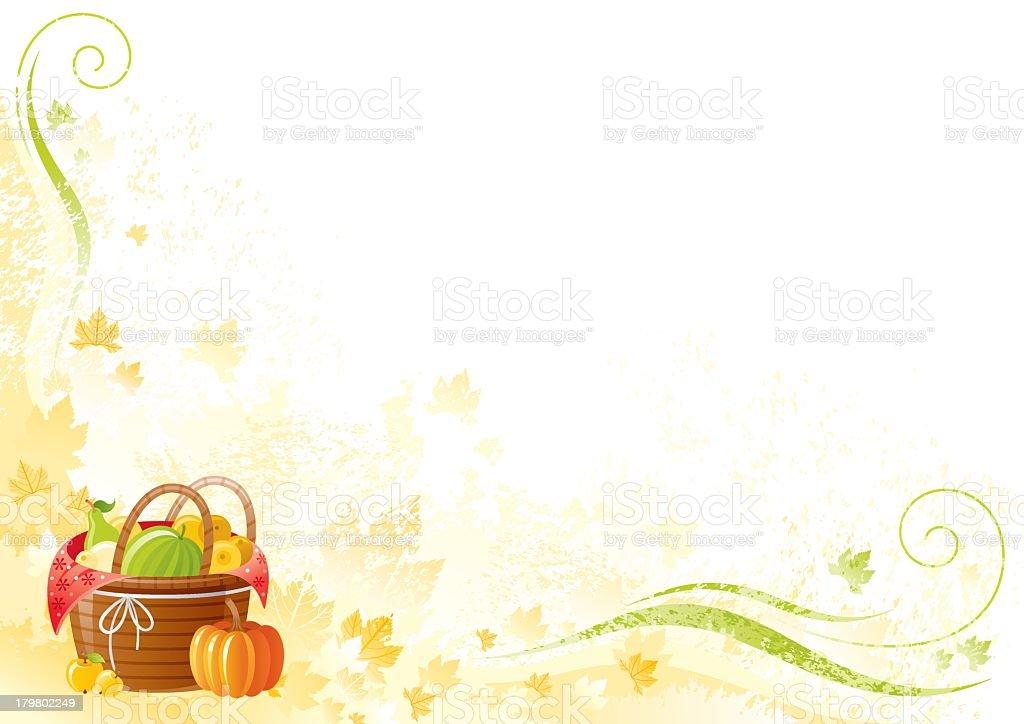 Thanksgiving background: fruit basket royalty-free stock vector art