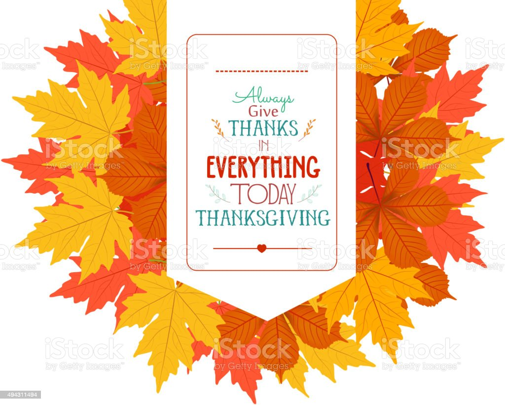 Thanksgiving. Banner with autumn leaves vector art illustration