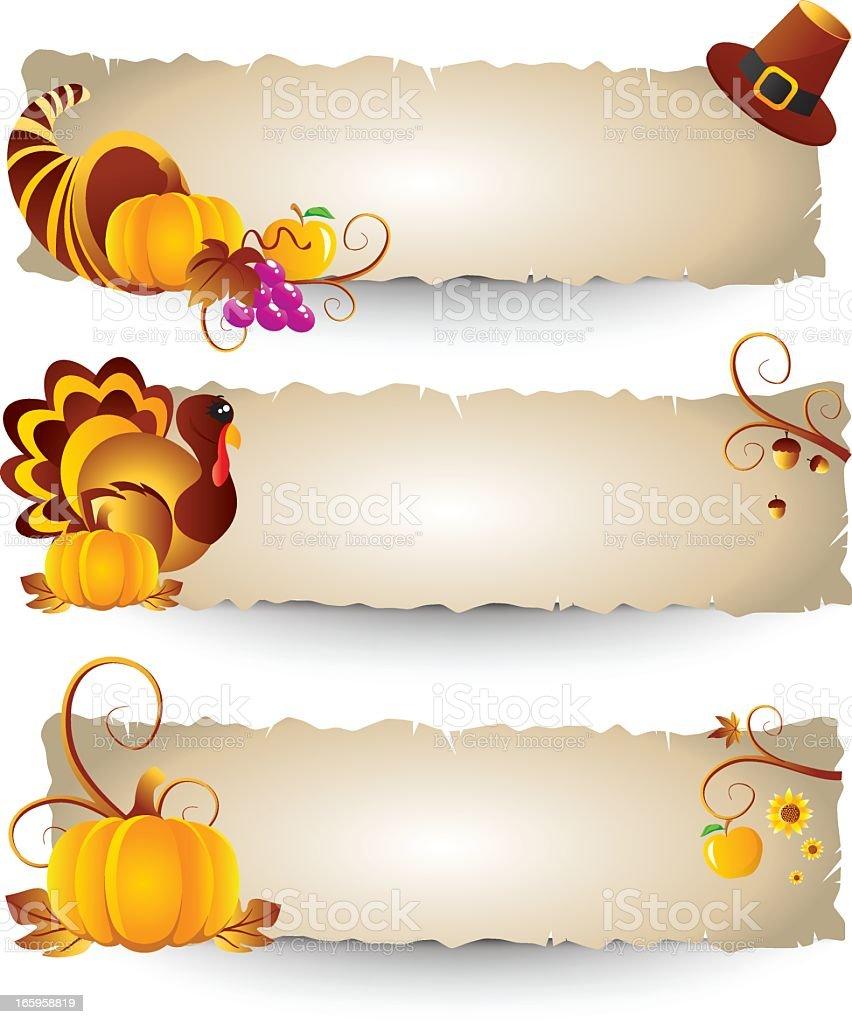 Bannières de Thanksgiving stock vecteur libres de droits libre de droits