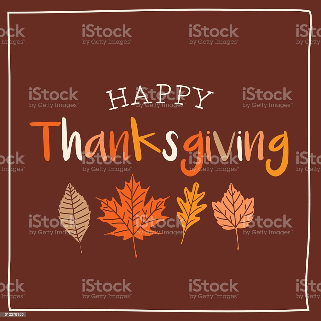 Thanksgiving card with autumn leaves, brown background. vector art illustration