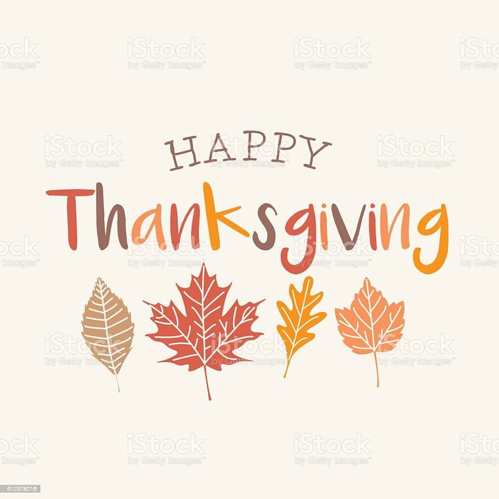 Thanksgiving card with autumn leaves. vector art illustration