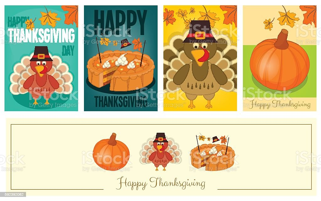 Thanksgiving Cards Set vector art illustration