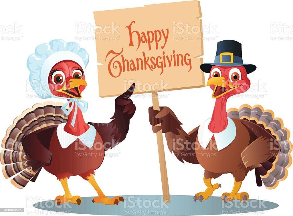Thanksgiving Cartoon of  Male and Female Pilgrim Turkeytoon vector art illustration