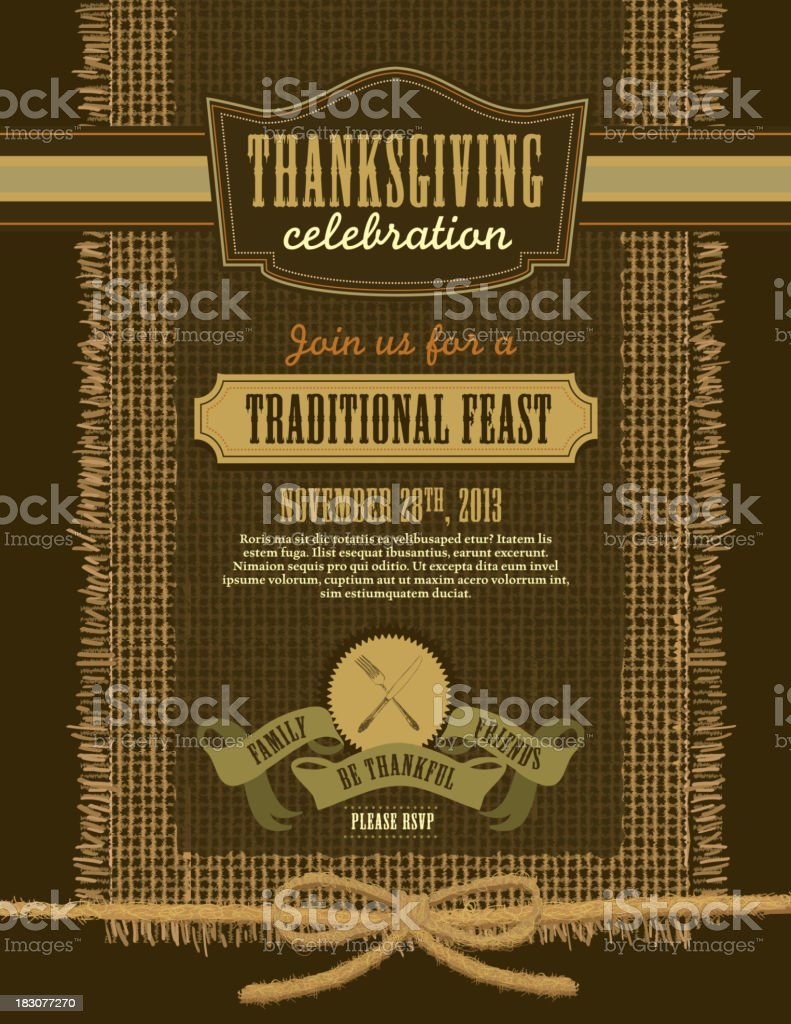 Thanksgiving celebration invitation burlap design template vector art illustration