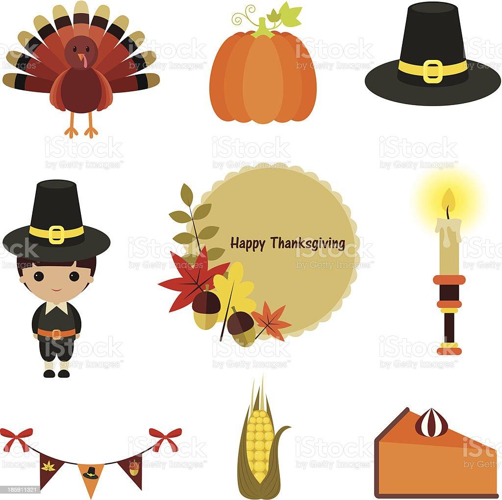 Thanksgiving clip-art set. royalty-free stock vector art