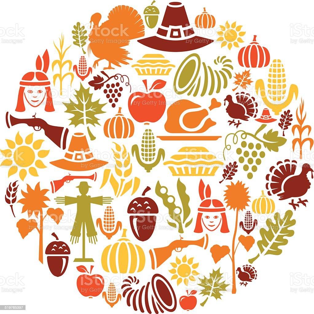 Thanksgiving Collage vector art illustration