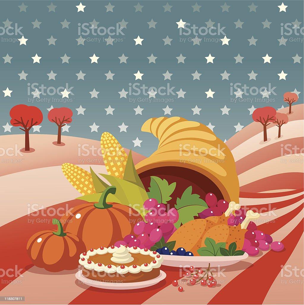 Thanksgiving. Cornucopia. vector art illustration