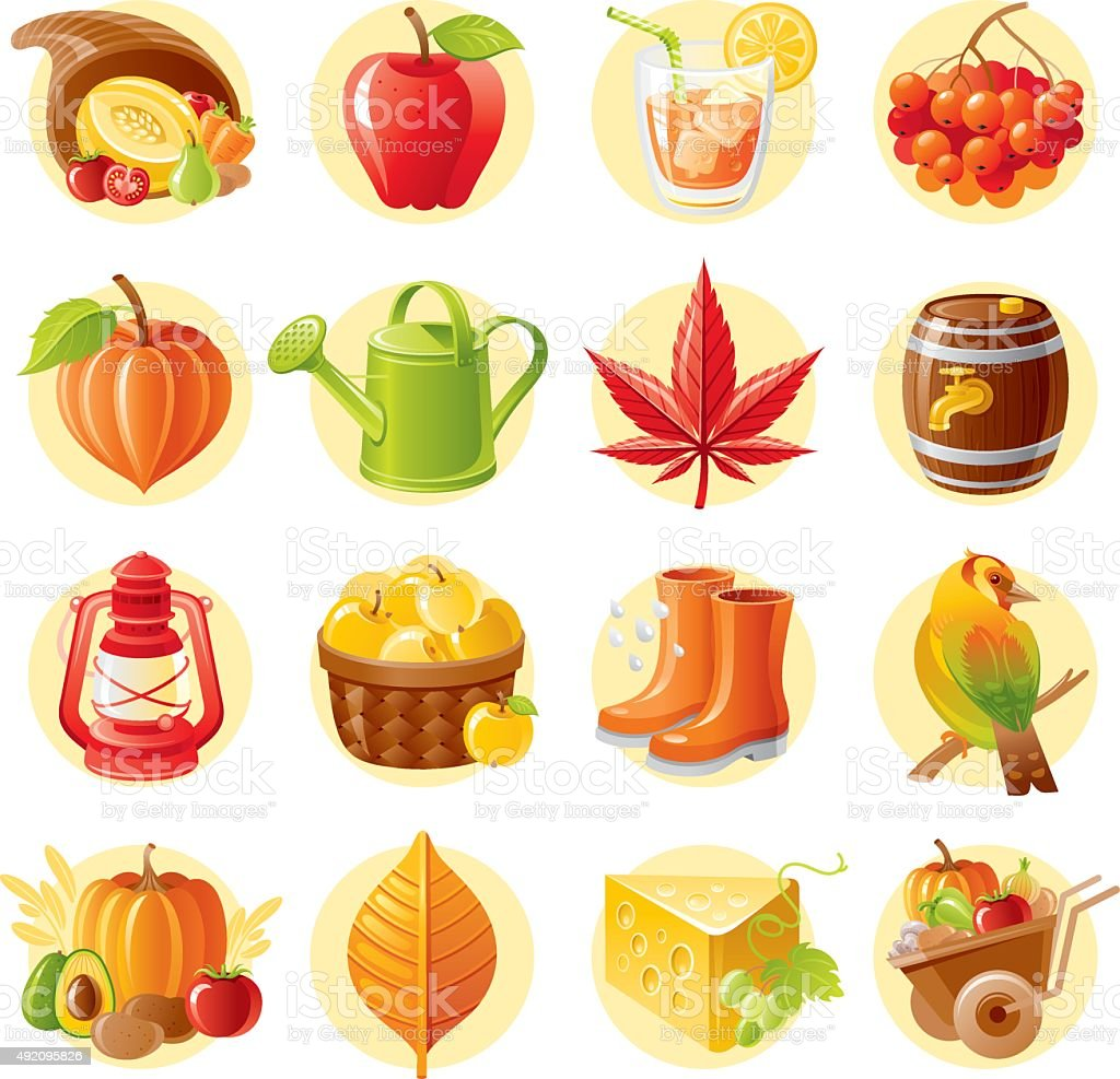 Thanksgiving day and autumn icon set vector art illustration