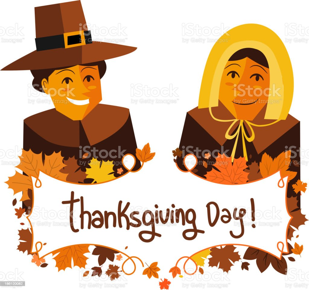 Thanksgiving Day Banner with Pilgrims royalty-free stock vector art