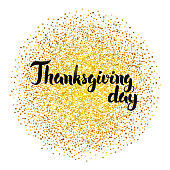 Thanksgiving Day Calligraphy over Gold