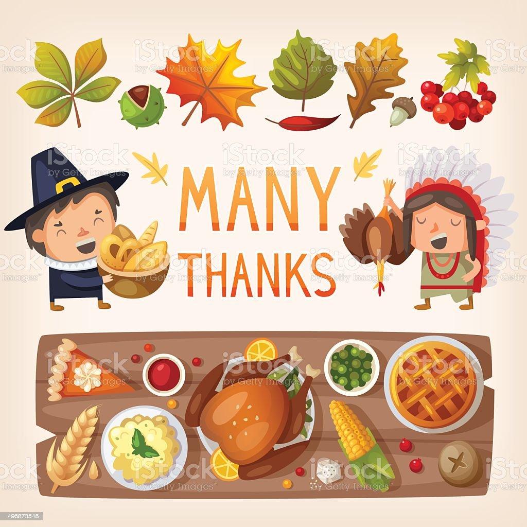 Thanksgiving day card elements vector art illustration
