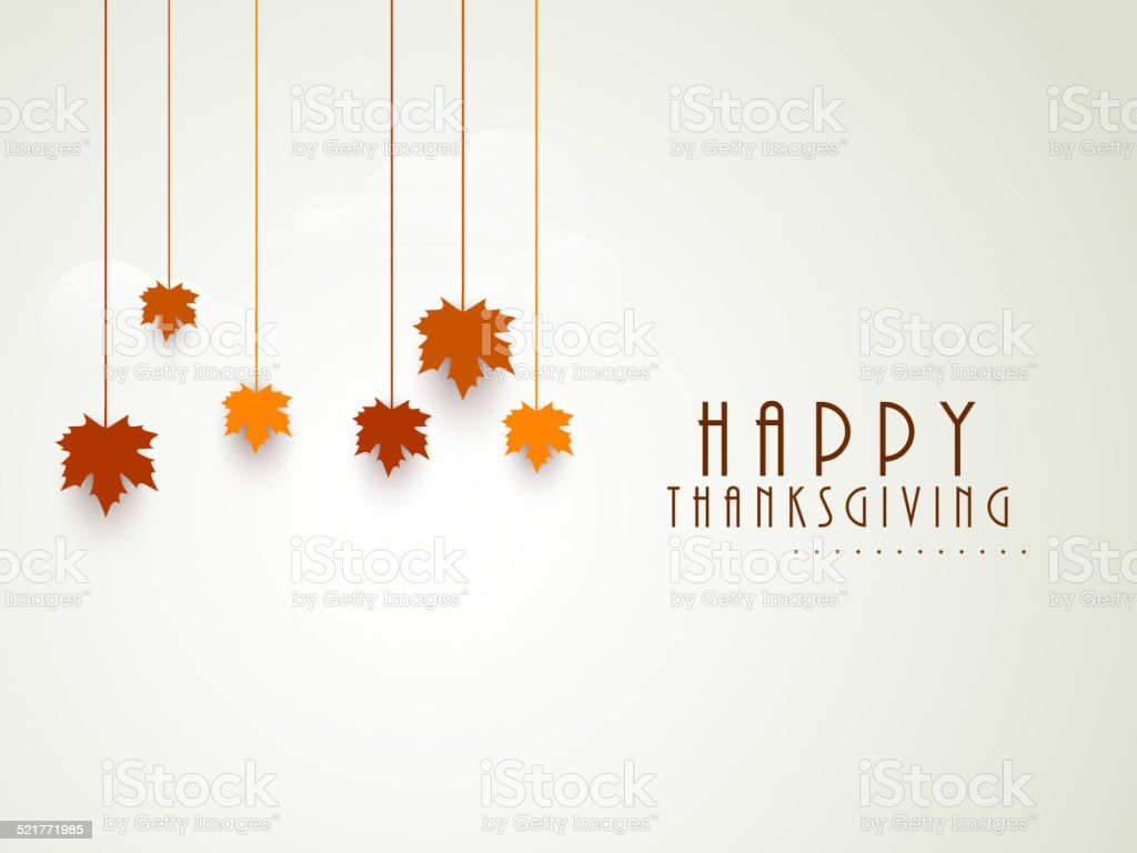 Thanksgiving Day celebration with hanging maple leaves. vector art illustration