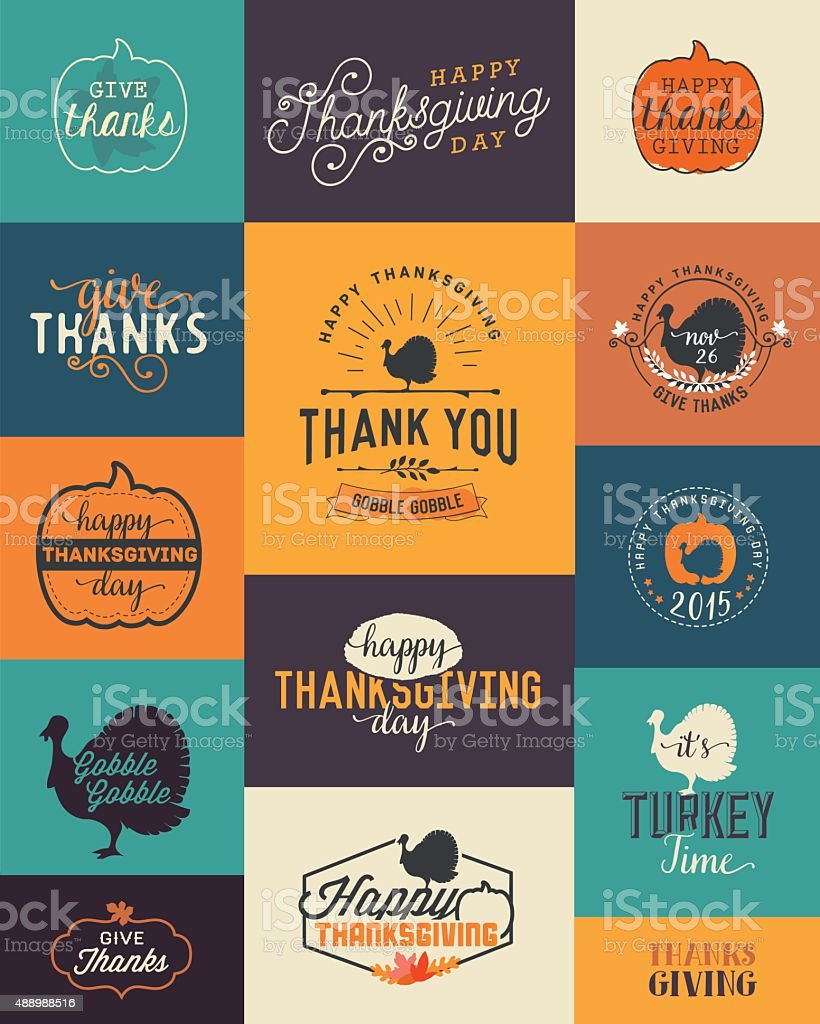 Thanksgiving Day Design Elements Badges and Labels in Vintage Style vector art illustration