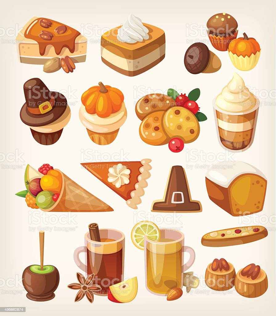 Thanksgiving day desserts vector art illustration