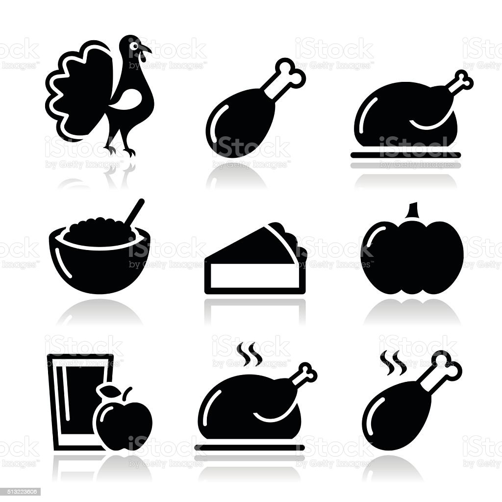 Thanksgiving Day food icons set vector art illustration