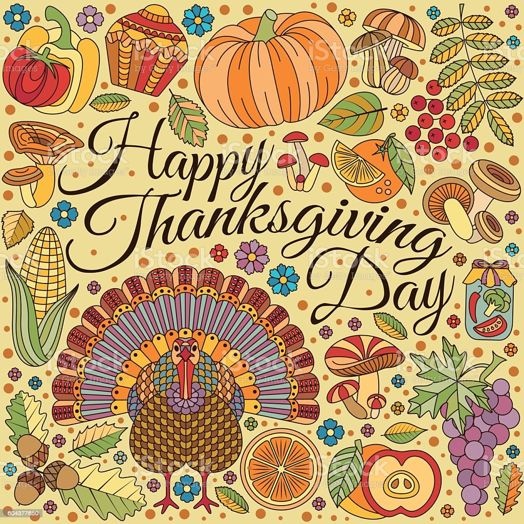 Thanksgiving day greeting card. Various elements for design vector art illustration
