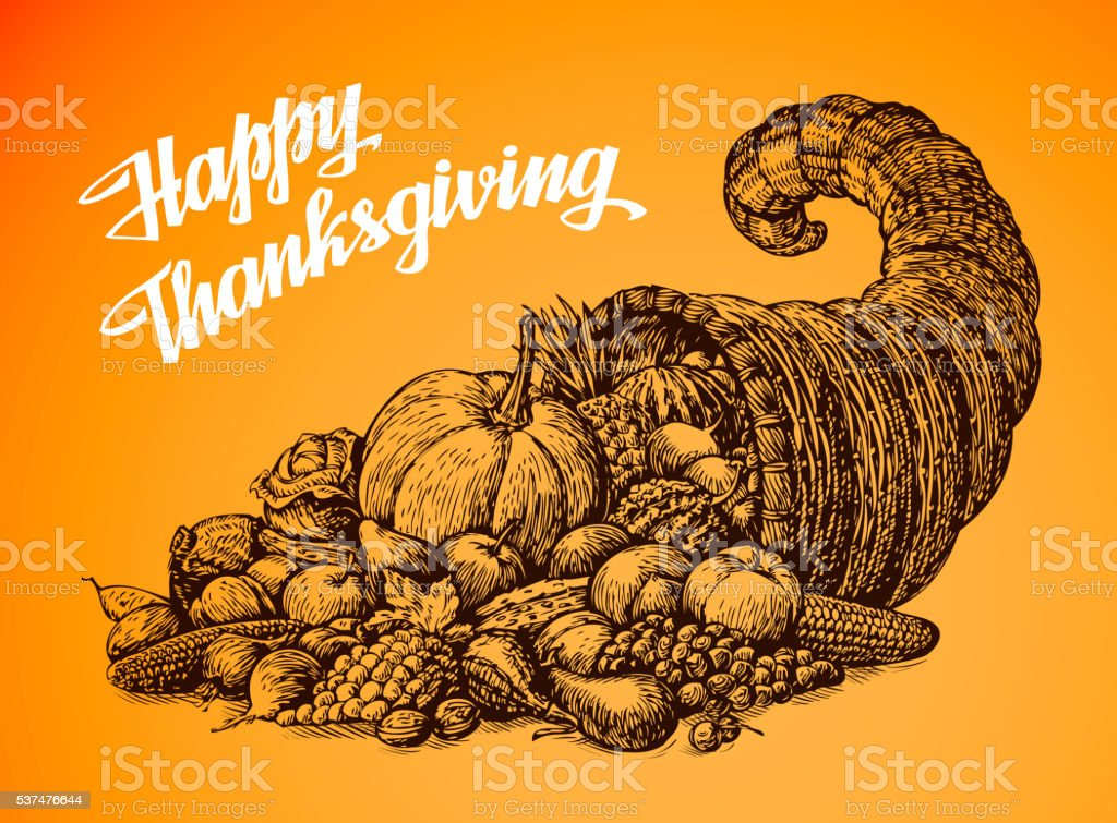 Thanksgiving Day. Hand drawn vector illustration Cornucopia or Horn of vector art illustration