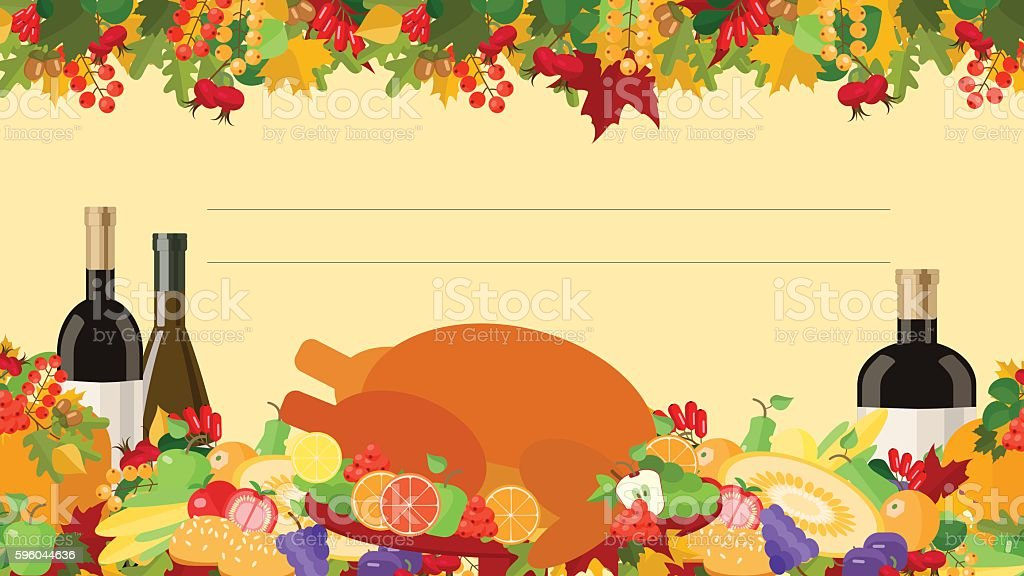 Thanksgiving Day , holiday card , decorated table , food, vector vector art illustration