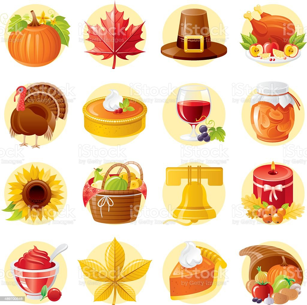 Thanksgiving day icon set vector art illustration