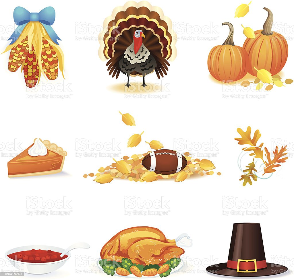 thanksgiving day icons and pictures vector art illustration