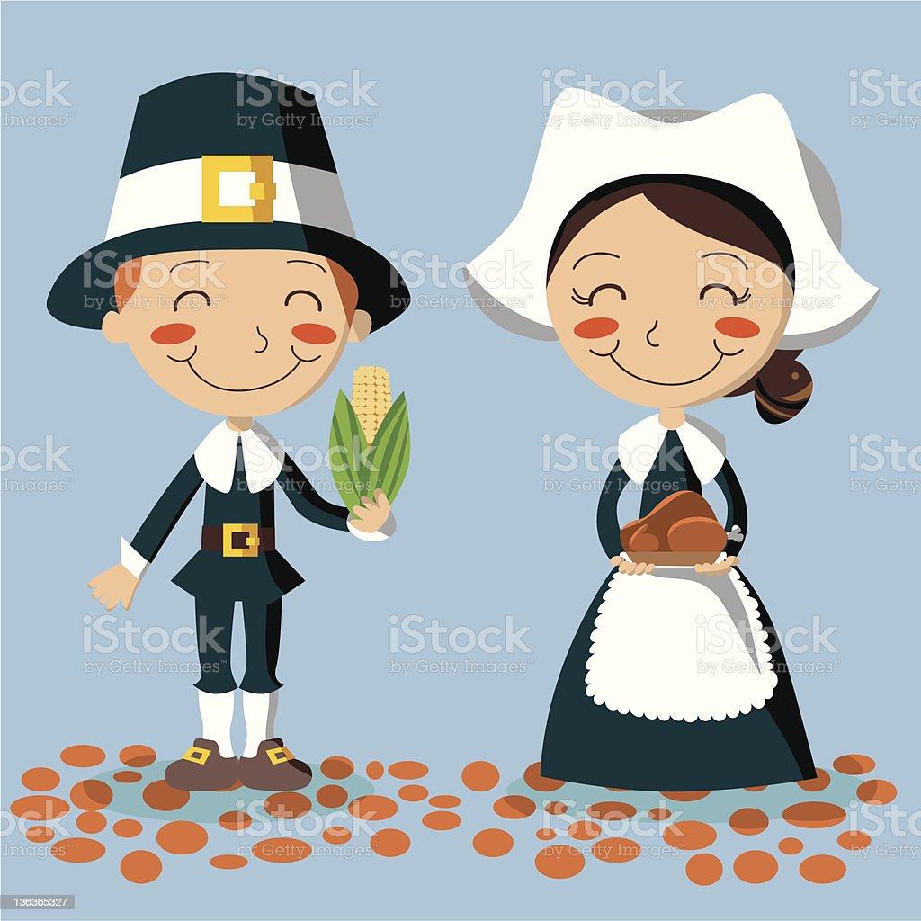 Thanksgiving Day Pilgrim Couple royalty-free stock vector art