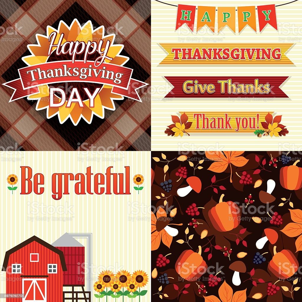 Thanksgiving Day Set of frame, ribbons, titles, pattern and decoration vector art illustration