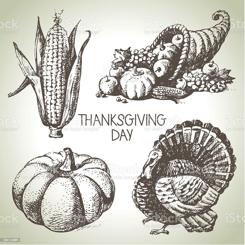 Thanksgiving Day set vector art illustration