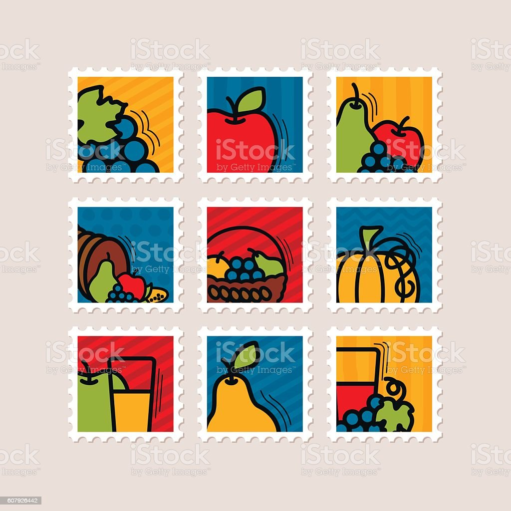 Thanksgiving Day stamp set. Harvest vector art illustration