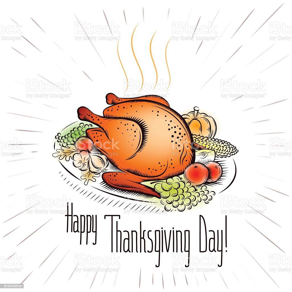 thanksgiving day turkey vegetable background color vector art illustration