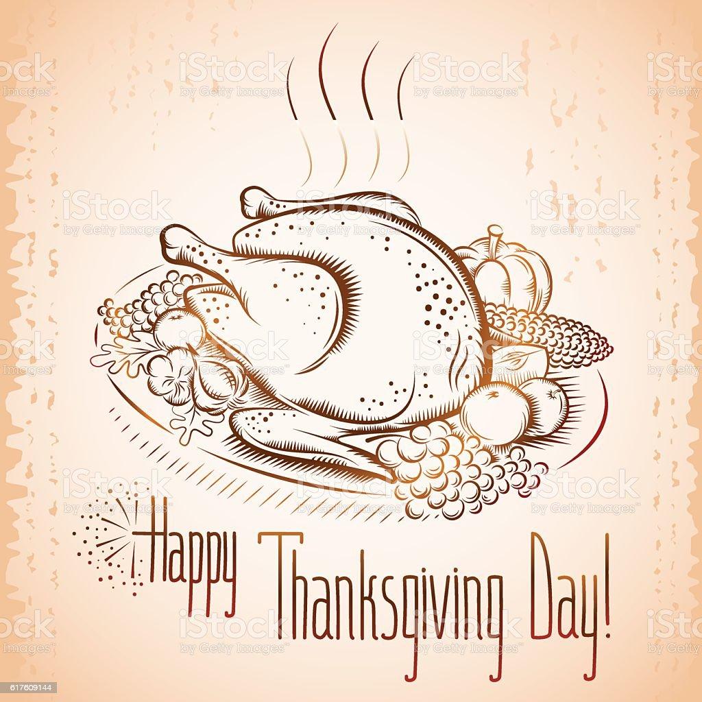 thanksgiving day turkey vegetable background vintage vector art illustration