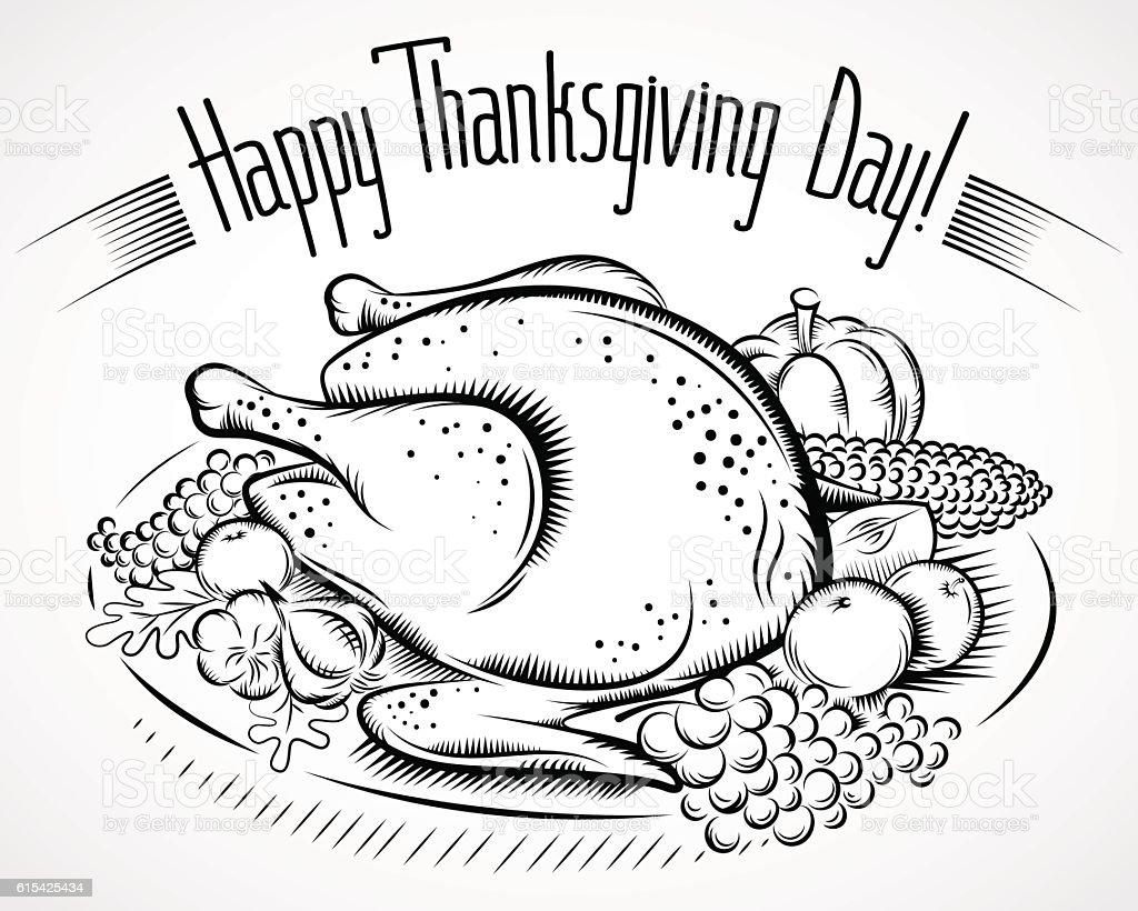 thanksgiving day turkey vegetable black vector art illustration