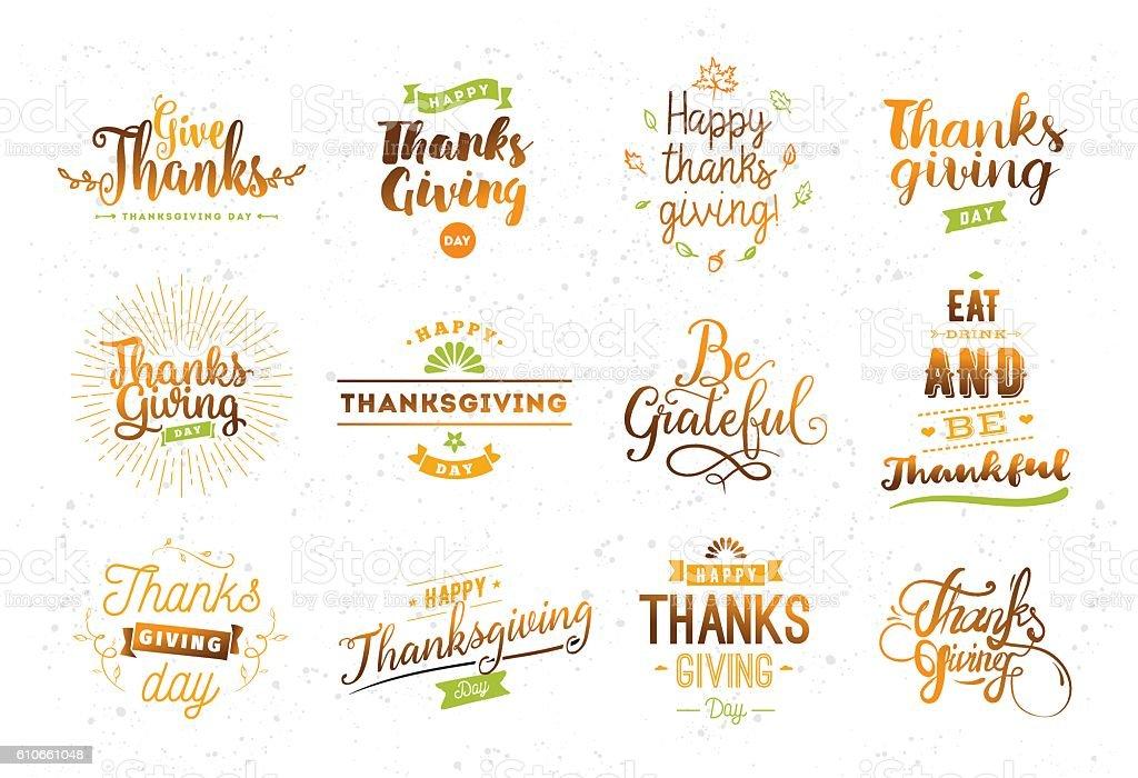 Thanksgiving day typography set. vector art illustration