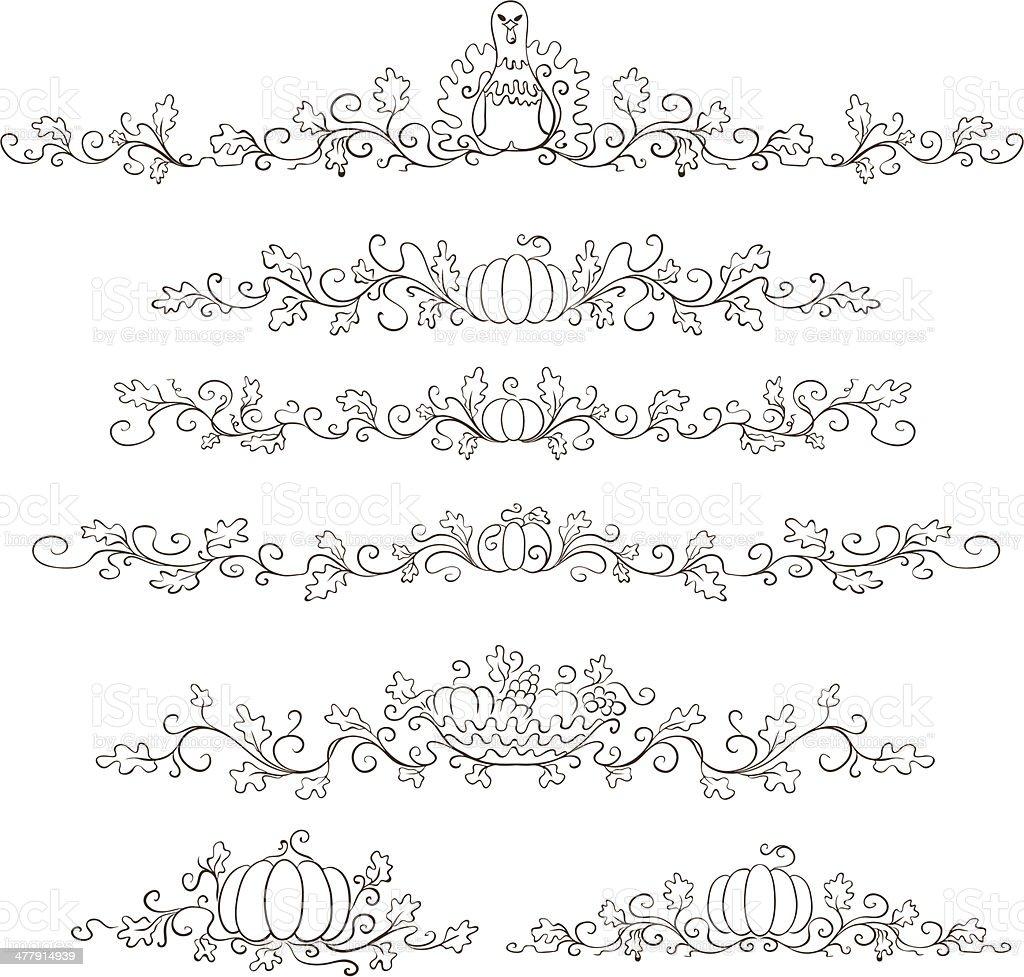Thanksgiving decorative borders royalty-free stock vector art
