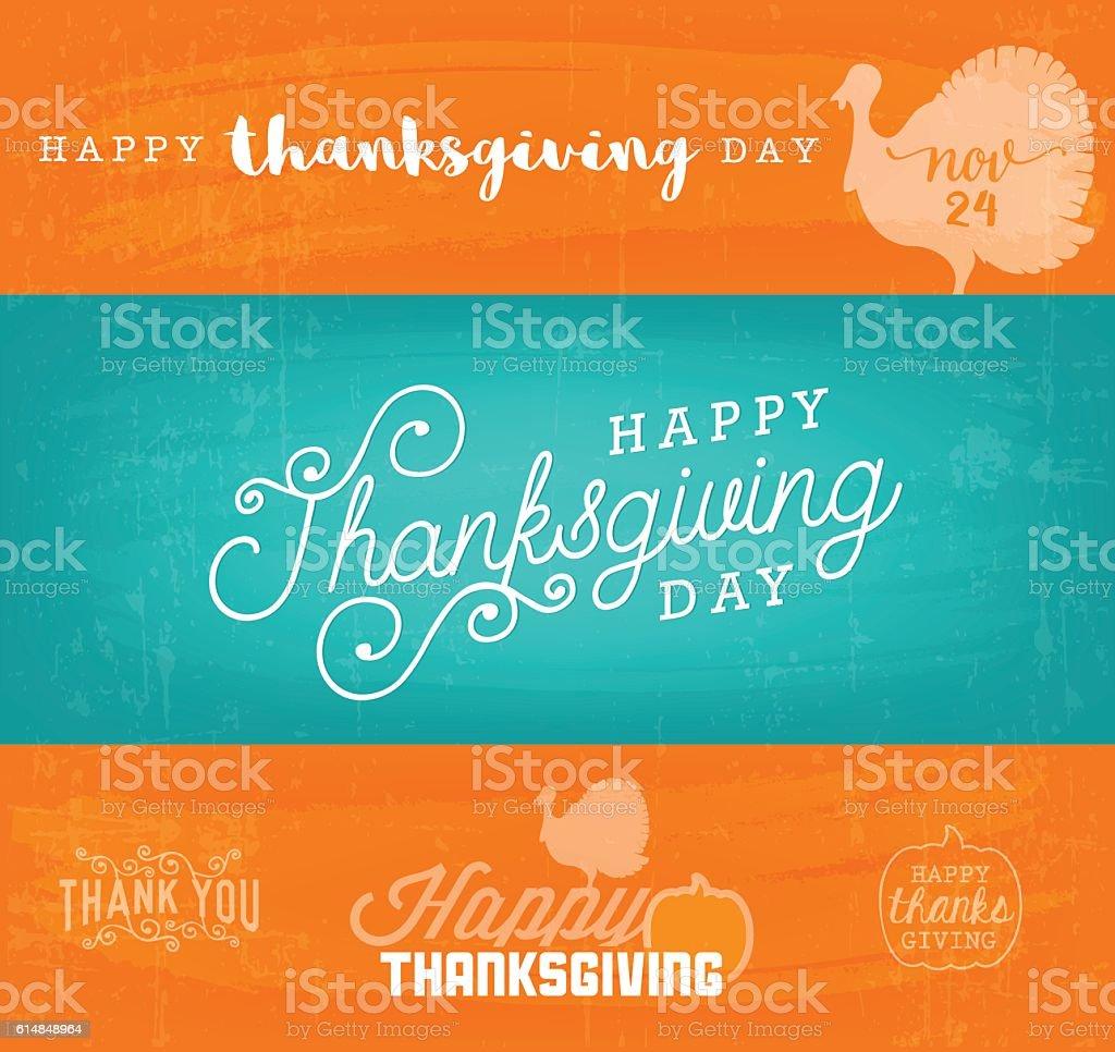 Thanksgiving Design Background Templates in Vintage Style vector art illustration