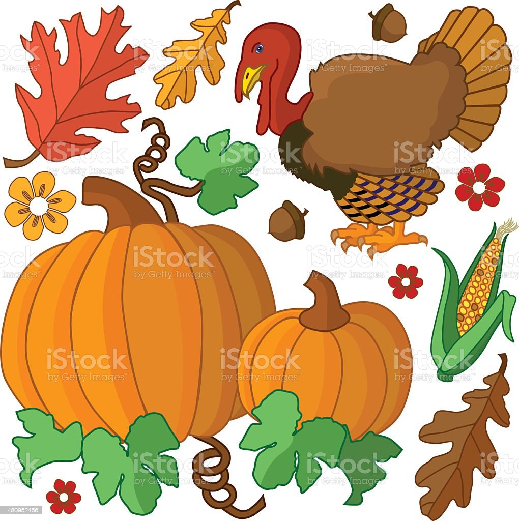 Thanksgiving design elements in color with turkey and pumpkins vector art illustration