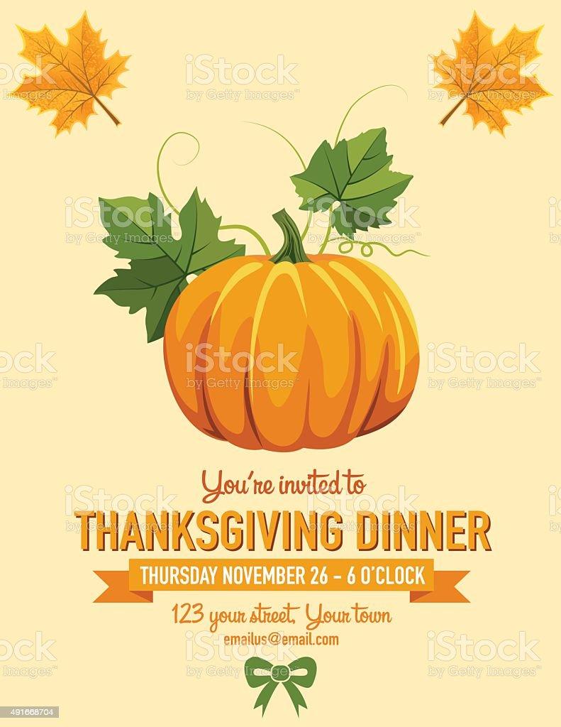Thanksgiving Dinner Invitation vector art illustration