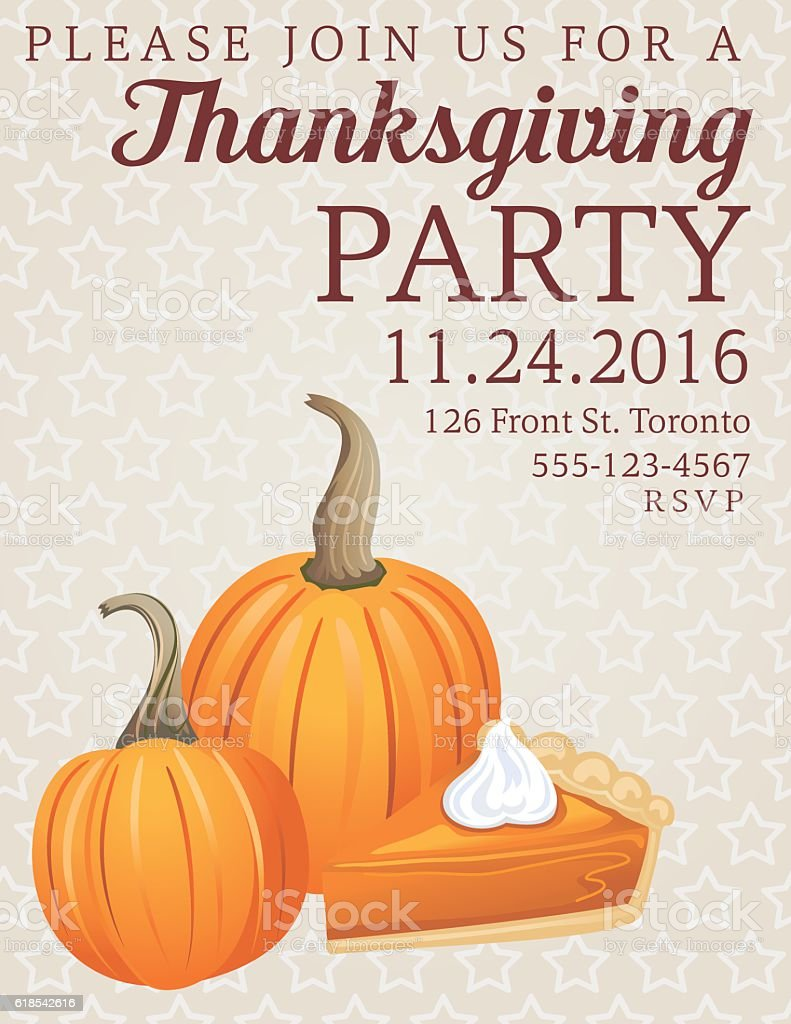 Thanksgiving Dinner Party Invitation vector art illustration