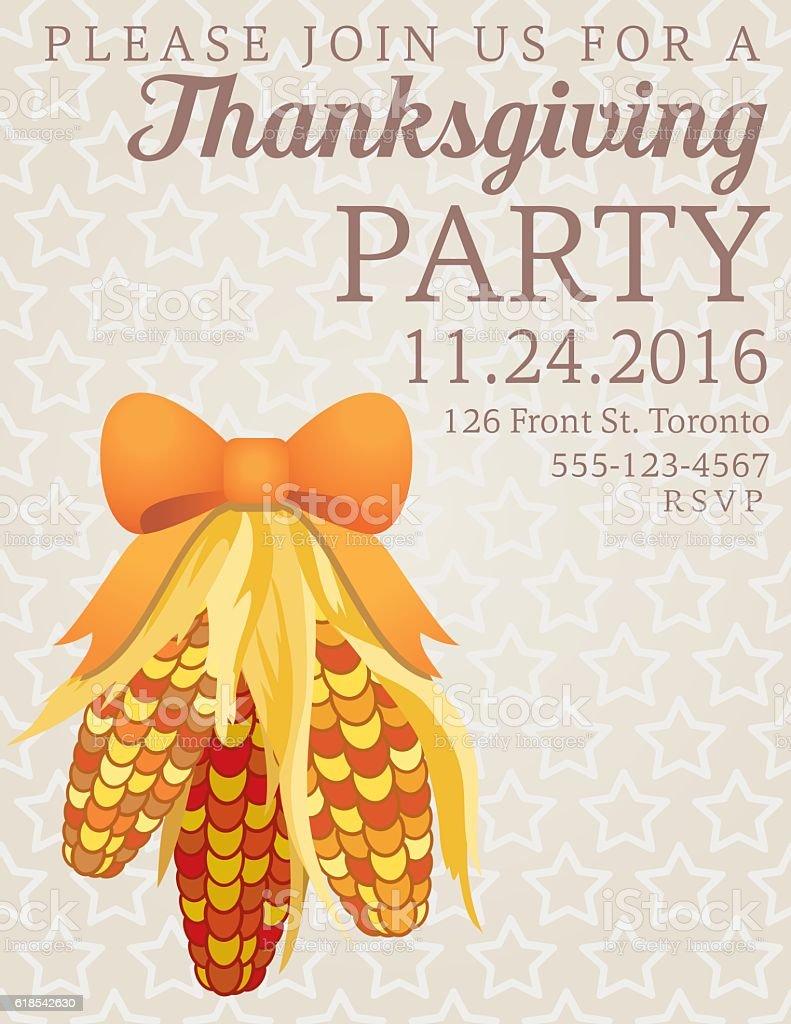 Thanksgiving Dinner Party Invitation stock vector art 618542630   iStock