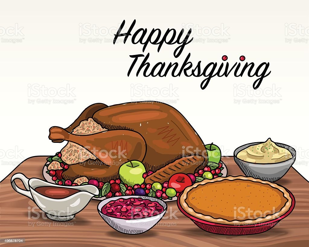 Thanksgiving Dinner vector art illustration