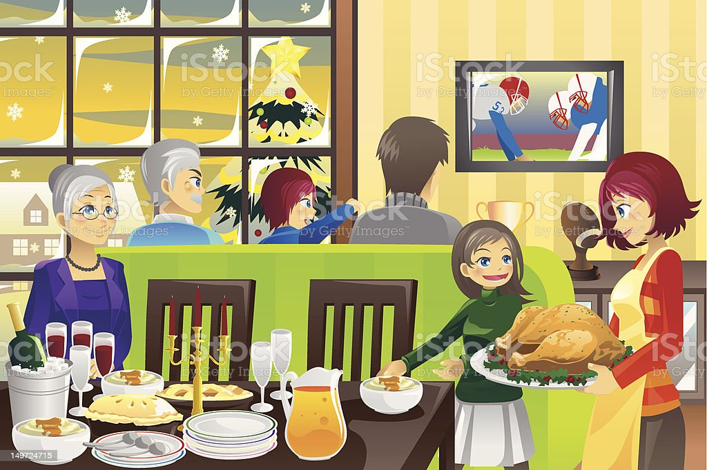 Thanksgiving family dinner royalty-free stock vector art