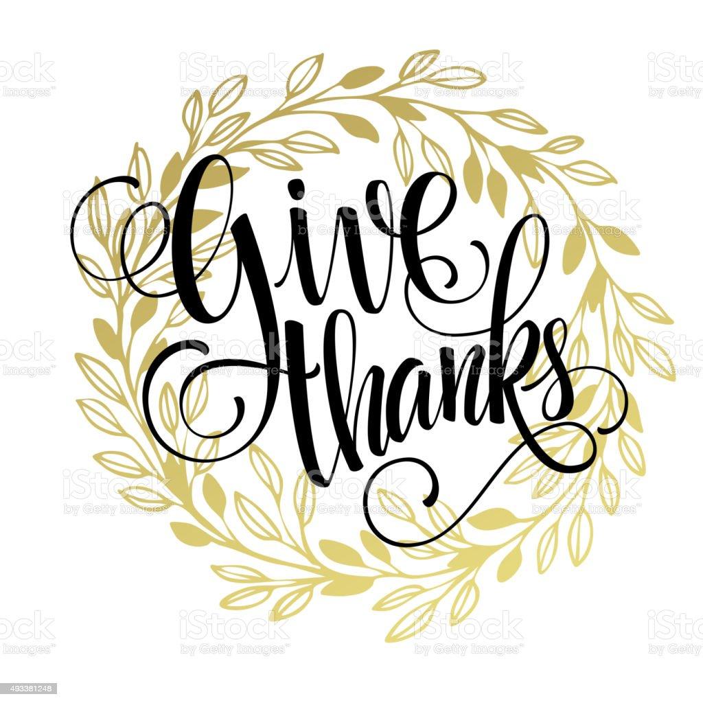 Thanksgiving - gold glittering lettering design. Vector illustration vector art illustration