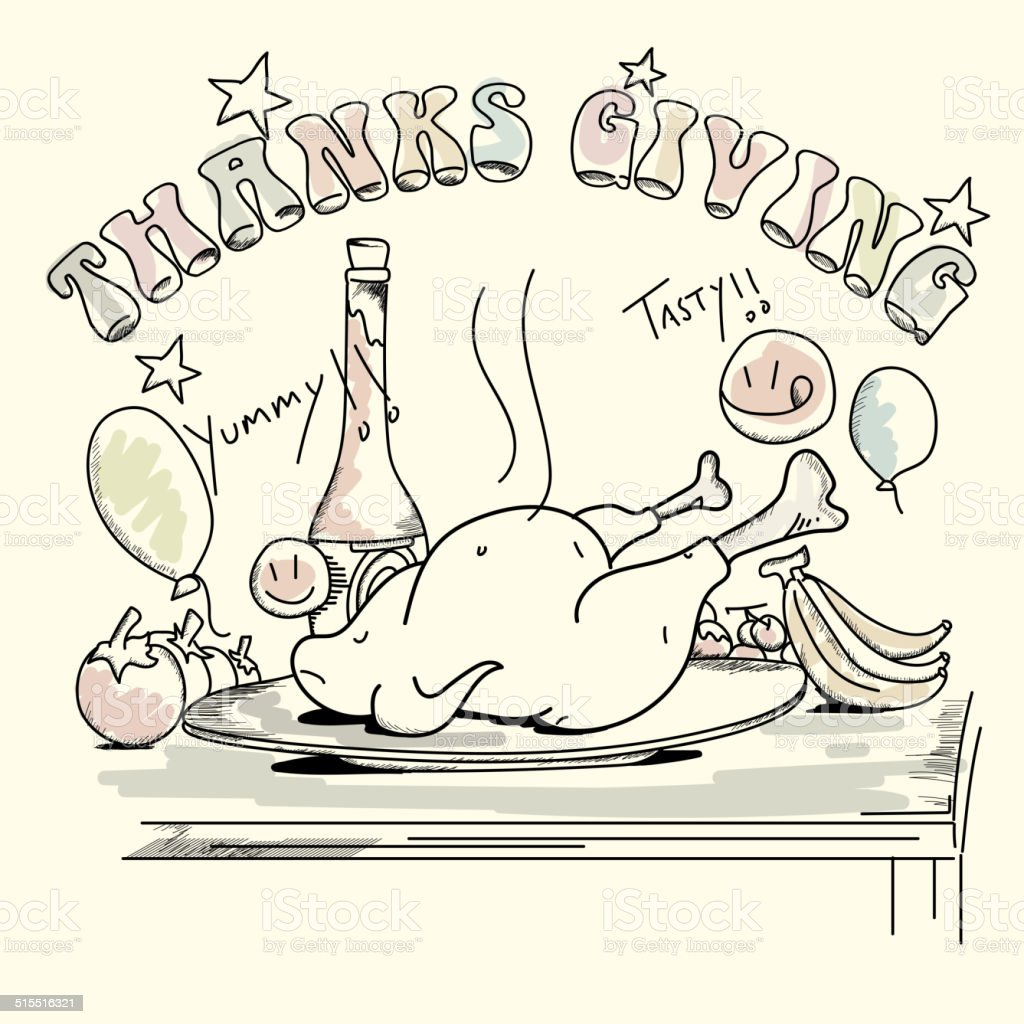 Thanksgiving greeting card or invitation card design. vector art illustration